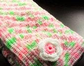 Spring into Summer Baby Blanket - 40 inch Corner to Corner Crib Blanket with Flower Embellishments