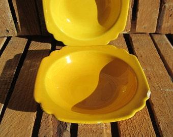 Riviera Ware - Homer Laughlin - Fiesta - Yellow Bowls - Fruit Bowls - Nappy Bowls - Berry Bowls - Yellow - Square Bowls - Art Deco - Century