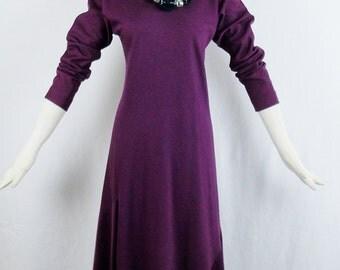 70s HALSTON PURPLE DAY Dress Vintage  Bias Cut Knit Ranglan Sleeves Knee Length Size 6