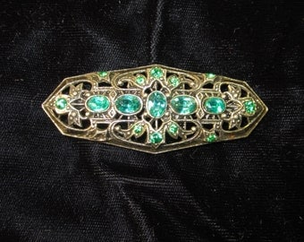 Vintage 1940's Art Deco Aqua and Emerald Colored Rhinestone Brooch