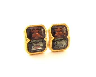 Heavy Foil Glass Clip Earrings - Gray/Green and Amber Topaz Glass - Ginnie Johansen / Signed GJD