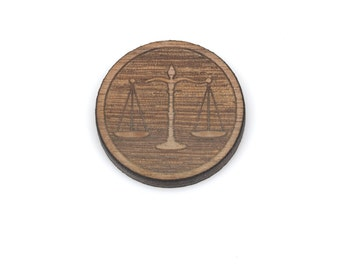 Set of 6 JUSTICE SCALES Lawyer Charms, Wood Cabochons, Laser Cut Supplies, Laser Engraved Wood, Earring Gauge, Sustainable Wood, lcw0094