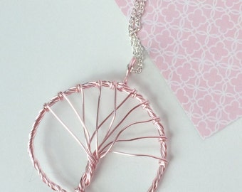 Pink Twisted Wire Tree of Life Necklace