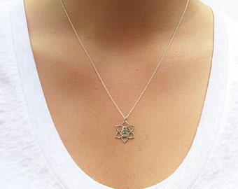 Meditation Buddha Silver Necklace - Buddha Necklace - Lotus Charm