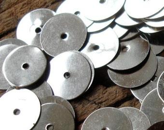 "100 x silver colour sequin Moroccan metal disc handira wedding blanket disc paillettes  13 g 10 mm or 0.4"""
