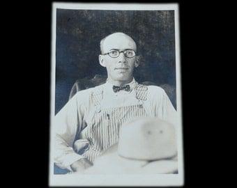 1930's Hipster - Portrait of Man in Unique Attire - Original Photograph - Striped Overalls / Polka Dot Bowtie - Fashion / Style