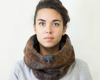Unisex cowl scarf. gift for her, accessories, tweed scarf, Snock® in wool with cotton blend lining