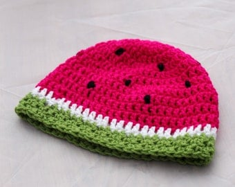 Kids Crochet Fruity Watermelon Beanie Hat