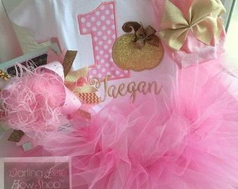 FREE SHIPPING Pink and Gold Pumpkin Outfit for 1st Birthday - This Pumpkin is 1 - tutu, bodysuit, leg warmers and Over The Top bow/headband