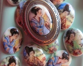 Vintage Asain Woman Glass Cabochon Made In Western Germany