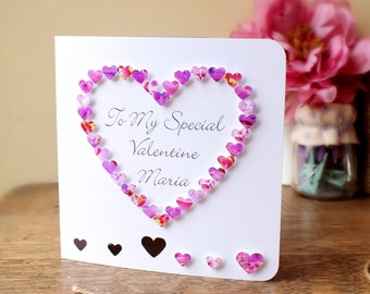 Personalised 3D Valentines Card, Personalized, Special Valentine Card, Love Heart, Happy Valentines Day, Customised, Name, 3D, Pink (BHE04P)