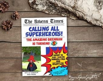Superhero Newspaper Style Personalized Birthday Invitation - Printable - Superhero Party - Newspaper Invitation