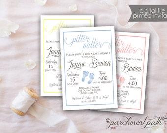 Baby Shower Invitation - Pitter Patter Baby Shower - Footprints - Boy, Girl, Gender Neutral, Gender Reveal - Double Sided Option - Printable