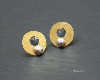 Brass Rings Sterling Silver Mixed Metals Stud Post Earrings