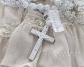 SEAWASHED WHITE ROSARY Large 68 inches Hand-painted White Washed Wood Jeanne d Arc Living French Nordic Shabby Chic Catholic Quiet Living