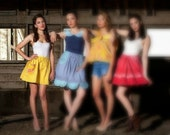 Yellow Skirt   Hand Embroidered   Retro Skirt   Full Skirt   Yellow and Pink   Cute Pockets