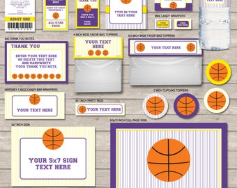 Basketball Party Printables - full Printable Package - Purple and Yellow - INSTANT DOWNLOAD with EDITABLE text - you personalize at home