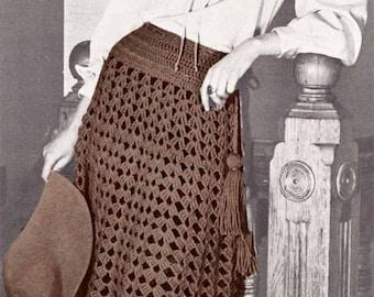 1960s Gypsy Cowgirl Fringed Skirt or Cape VINTAGE CROCHET PATTERN, Boho Mini/Maxi Skirt/Poncho,Retro Hipster, Pdf from GrannyTakesATrip 0329