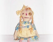 Primitive Folk Art Worn Torn Raggedy Annie Doll Rag Doll by FosterChildWhimsy