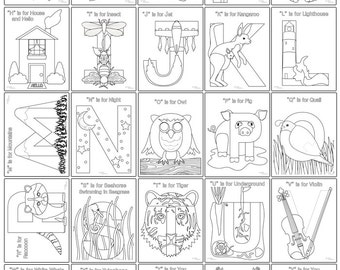 NEW PRODUCT: Alphabet Images Coloring & Activity Pages - Upper and Lowercase Set - Printable PDF - Letter of the Week Curriculum Supplement