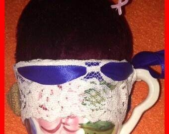 PINCUSHION Porcelain Teacup Vintage Crocheted Button Accent