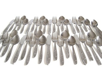 Stanley Roberts Stainless Flatware Set Service for 8 44 pc Florentine Rose Stainless Japan Silverware Granny Chic
