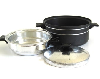 "Miracle Maid Cookware Double Boiler Insert, 8"" Lid, Dutch Oven with Stripes"