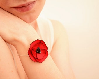 Red poppy flower bracelet - Sterling silver, black Swarovski crystal rhinestones