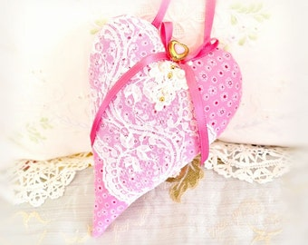 "Mother's Day Heart Pillow / 7"" Heart Ornament / Heart Door Hanger, Fabric Heart, Victorian Style Handmade CharlotteStyle Decorative Folk Art"