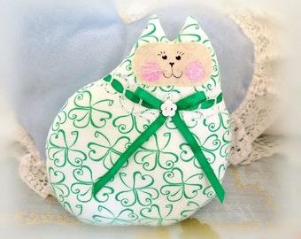 St. Patricks Day Cat Pillow Cloth Cat Doll 7 inch, Green Shamrocks, Primitive Soft Sculpture Handmade CharlotteStyle Decorative Folk Art