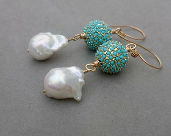 RESERVED Freshwater Pearl Earrings - Pearl and Turquoise Swarovski Gold Earrings with Gold Fill
