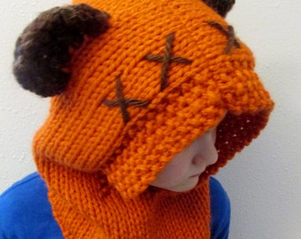 Ewok inspired hood with fuzzy ears hand knit Star Wars enthusiast gift, pick your size, Furry Forest Friend, kid or adult