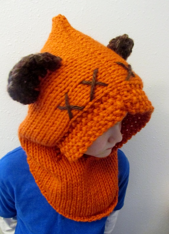 Ewok inspired hood with fuzzy ears hand knit Star Wars