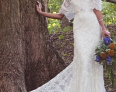 "Off The Shoulder, Lace Bridal Gown, Scalloped Lace, Vintage Inspired Gown - ""Laurence"""