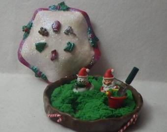 Covered Christmas Sandbox Miniature with Green Sparkle Kinetic Sand, Santa, Snowman, Pail  Shovel for Fairy Garden or Dollhouse