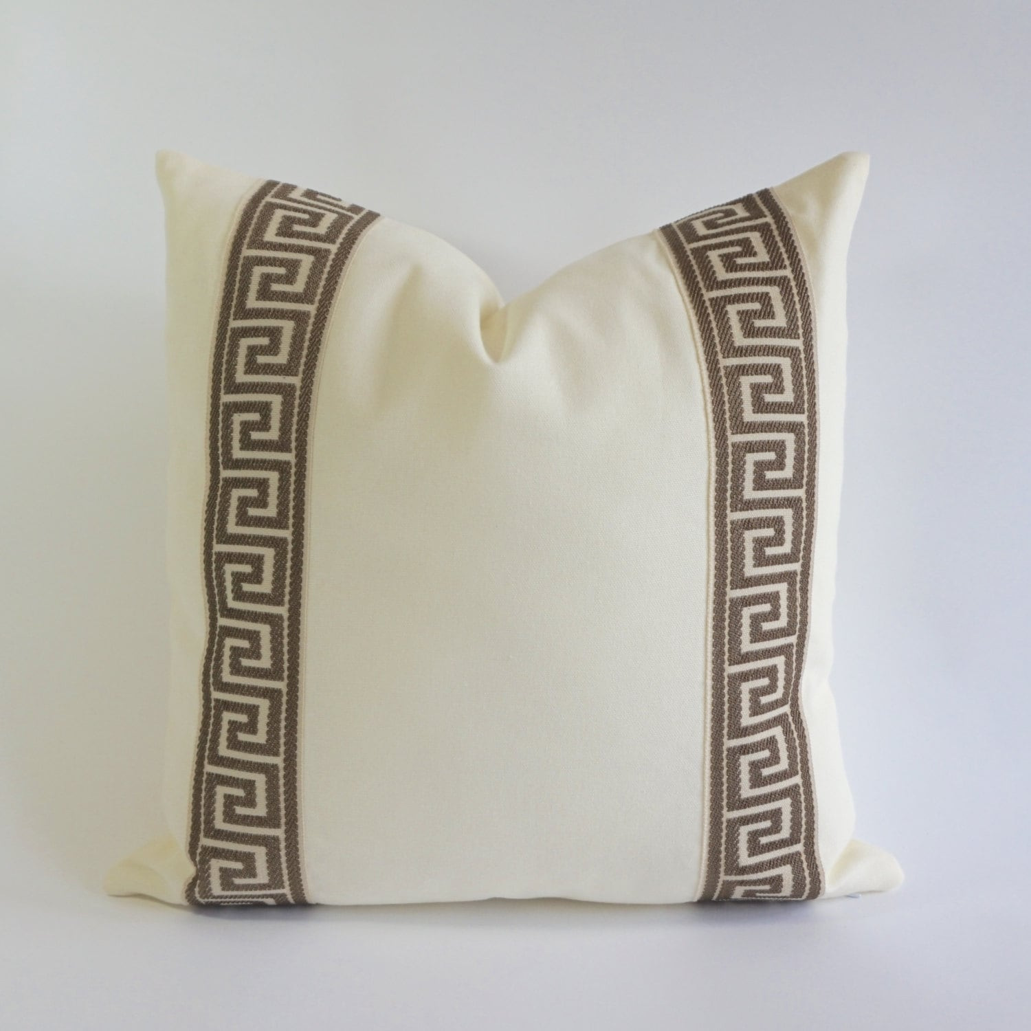 Greek Key Decorative Pillows Part - 25: Decorative Pillow Cover Cotton Off White Cotton Canvas With Light Brown Greek  Key Ribbon Border - 16x16 To 26x26 -4 Different Color Choices