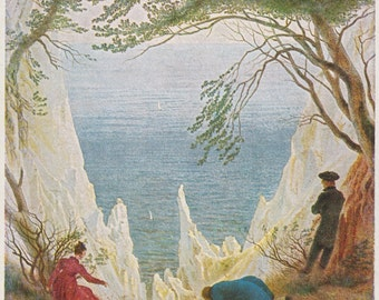 "Vintage German Postcard -- Caspar David Friedrich ""Chalky rocks on the Isle of Rugen"" -- 1960s"