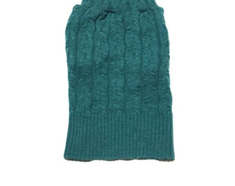 Designer Dog Sweater, Small Green Blue Cable Knit, Boy Dog Clothes, Pet Puppy Boutique 0336