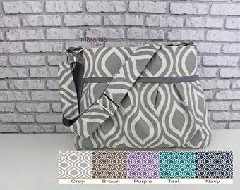 Stella Diaper Bag Medium Purse  -  Pod Custom Color - 6 pockets Adjustable Strap - Attach to Stroller Custom Made to Order
