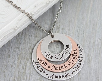 Personalized Mom Jewelry - Grandmother Necklace - Personalized Jewelry - Family Name Necklace