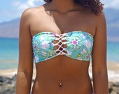 Breakwalls Reversible Style Lace Up- Corset Bandeau Bikini Top 2 Suits in 1 mad by Peace of Paradise Creations