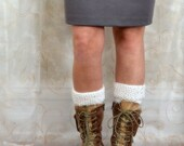 White and Light Blue Boot Toppers Boot Cuffs Knitted Leg Warmers - Two in One Knit Boot Cuffs