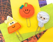 Halloween Felt Planner Paper Clip | Candy Corn Paper Clip, Pumpkin Paper Clip, Mummy Paper Clip. Spooky Cute gifts Novelty Magnets and Gifts