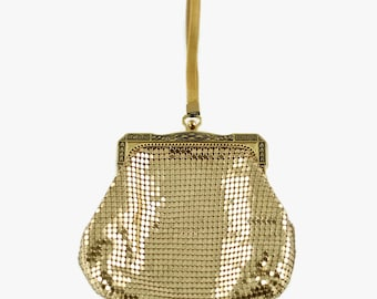 Vintage Whiting and Davis Gold Evening Bag with Mesh Strap