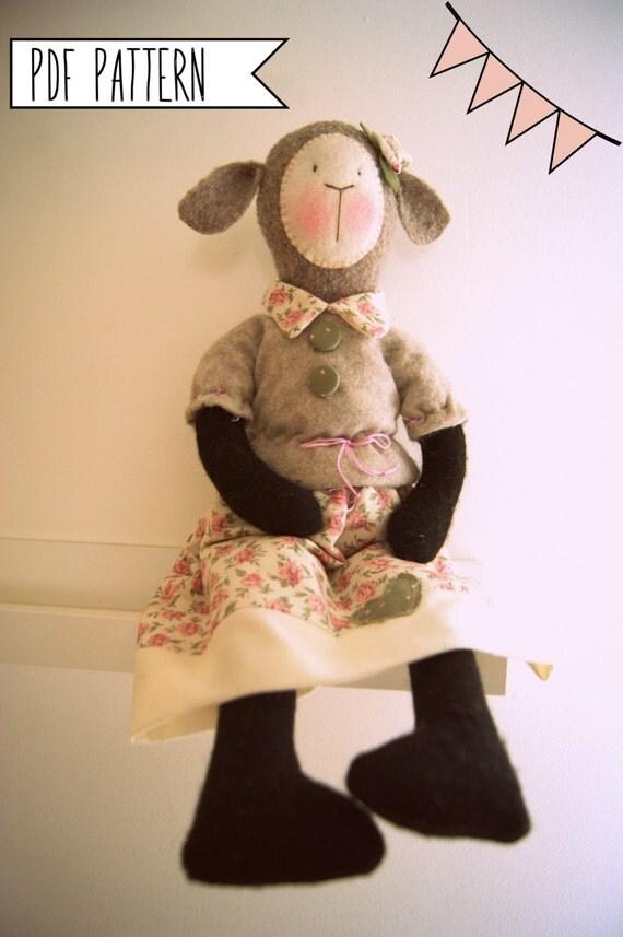 Pdf sewing pattern Soft Lamb, Softie Pattern, Whimsy Doll