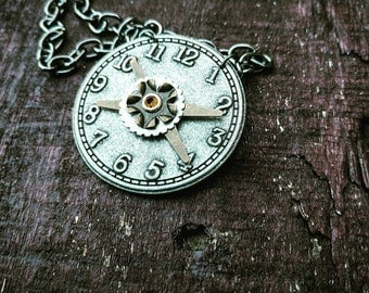 Antiqued Industrial Neo-Victorian Repurposed Handmade Ooak Silver Watchface Necklace