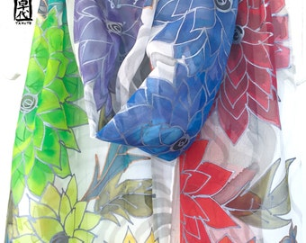 Hand Painted Silk Scarf, ETSY, Large Chiffon Scarf Silk, Rainbow Colors Dreamy Bouquet Dahlias Scarf, Silk Scarves Takuyo, 14x72 inches