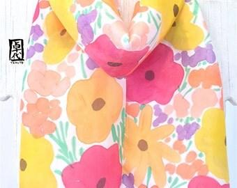 Silk Summer Scarf, Rainbow Summer Wildflowers, Hand Painted Silk Scarf, Graduation Gift, Floral Scarf, Scarf for Wife, Takuyo, 8x54 inch