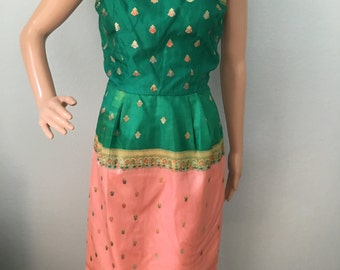 1960s Green and Pink Sari Silk Dress