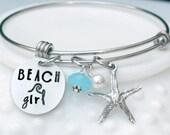 Beach Bangle Bracelet - Beach Girl Bracelet - Starfish - Expandable Bangle - Stacking Bracelet - Cruise Jewelry - Summer Jewelry
